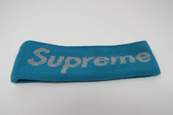 supreme x new era headband used in blue