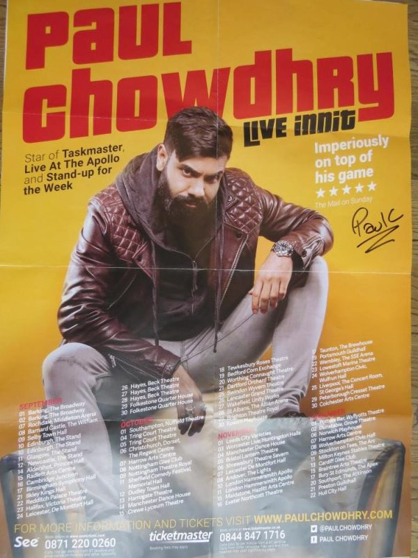 Paul Chowdry Signed 'Live Innit' UK Tour Poster